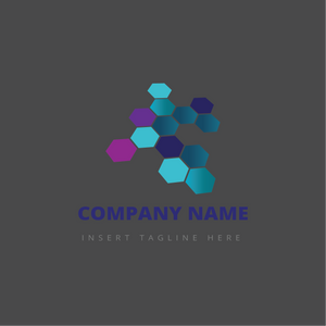 Colorful hexagons on a grey color background