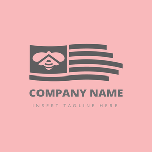 A flag with a bee icon on it on a pink color background