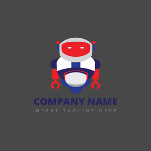 A robot on a grey color background