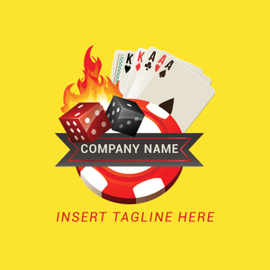Dices, poker cards, casino token and fire on a yellow color background