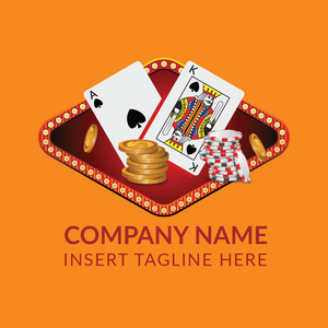 Poker cards, coins and casino tokens on a orange color background