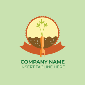 A carrot with the shape of fork in soil with badges design on a green color background