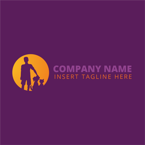 Man with cat and dog on a purple color background