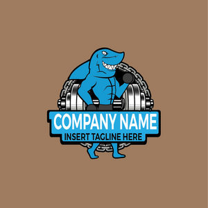 Shark  and weightlifting on a brown color background