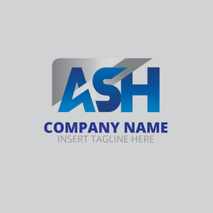 'ASH' letter on a grey color background