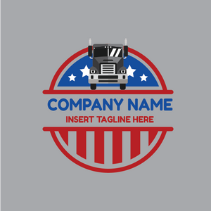 Truck with United States of America flag circle badge on a grey color background
