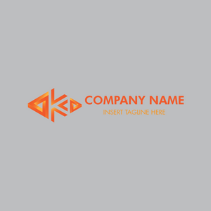An abstract triangle forming letter 'K' on a grey color background