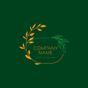 Leaf ornament border on a green background
