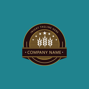 Malted barley brown emblem for brewery and alcoholic products on green background
