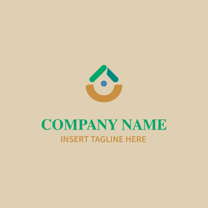 Drop shape logo with dot in middle on beige background