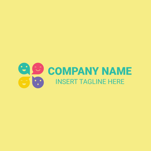 Multicolored iconic logo on yellow background
