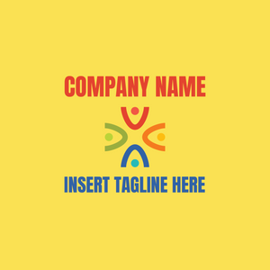 Iconic people logo on yellow background