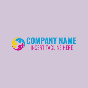 Iconic people logo on purple background