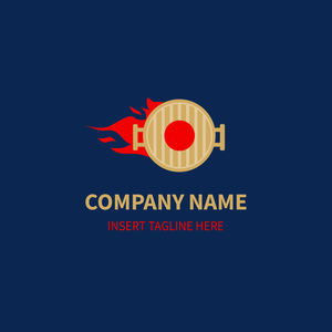 Gold grill with red hot fire logo for restaurant on dark blue background
