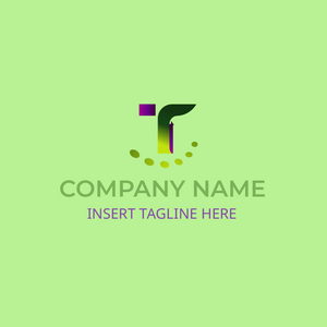 T symbol logo on light green background