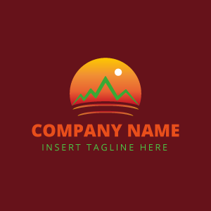 Sun with mountain logo on red background