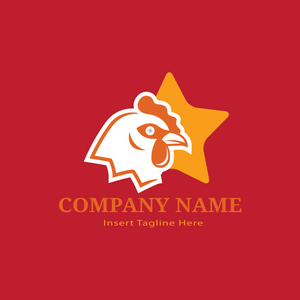 A cock and a star on a red color background