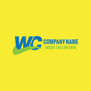 Two letters 'w' and 'c' on a yellow color background