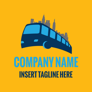 A bus and city on a yellow color background