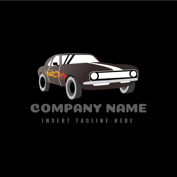 A classic car with fire sticker on a black color background