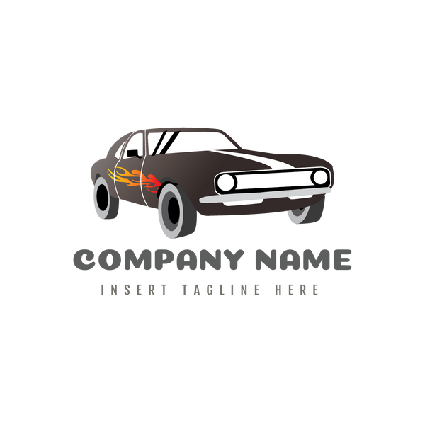 A classic car with fire sticker on a white color background