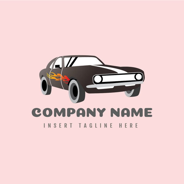 A classic car with fire sticker on a pink color background