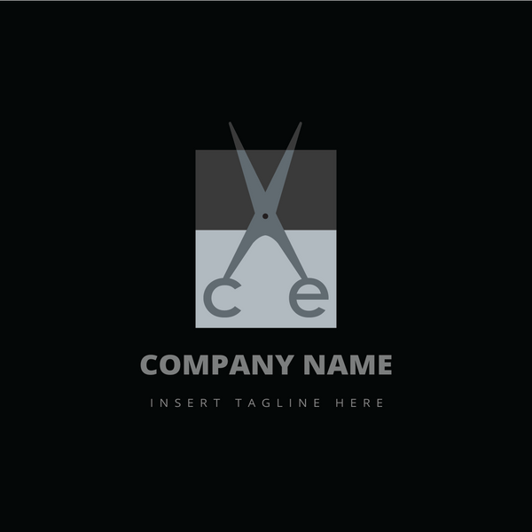 A scissor and letter 'ce' on a black color background