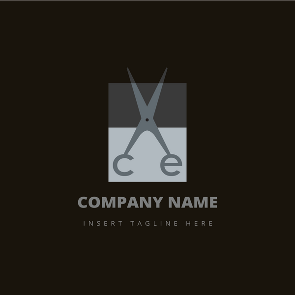 A scissor and letter 'ce' on a brown color background
