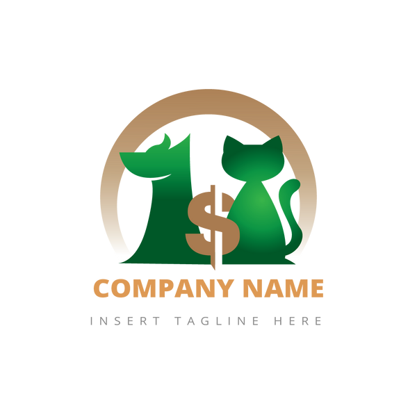 Dog, cat and money icon on a white color background
