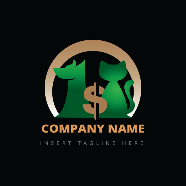 Dog, cat and money icon on a black color background