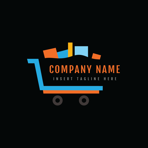 A shopping cart on a black color background