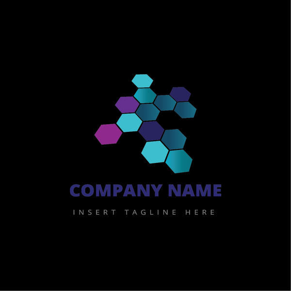 Colorful hexagons on a black color background