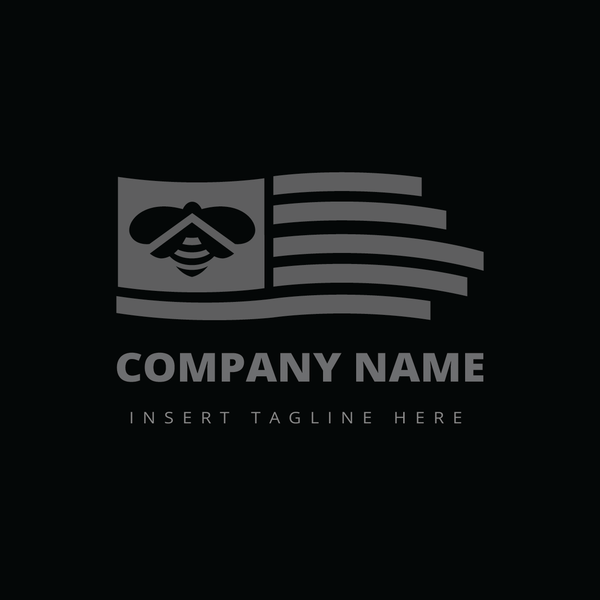 A flag with a bee icon on it on a black color background