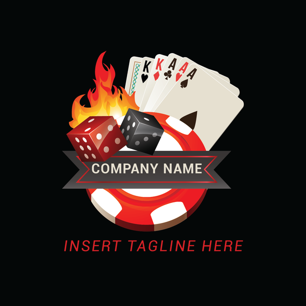 Dices, poker cards, casino token and fire on a black color background