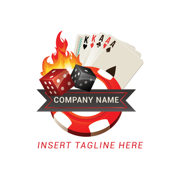 Dices, poker cards, casino token and fire on a white color background