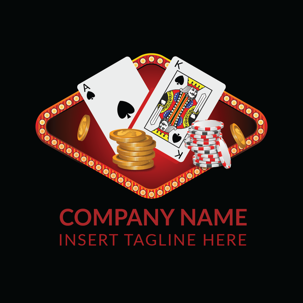 Poker cards, coins and casino tokens on a black color background