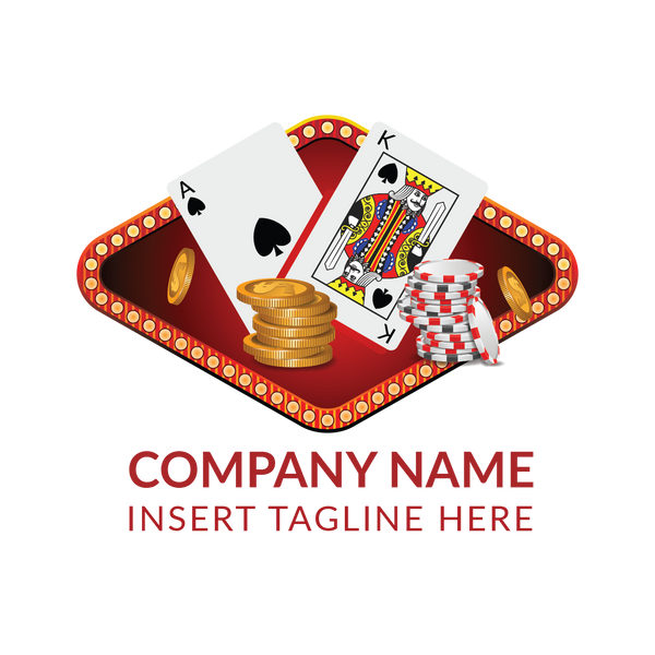 Poker cards, coins and casino tokens on a white color background