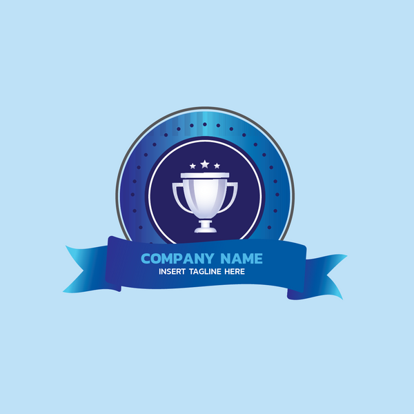 Trophy circle badge on a blue color background