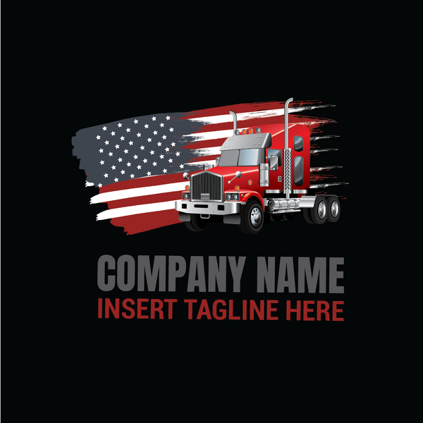 Truck with United States of America flag on a black color background