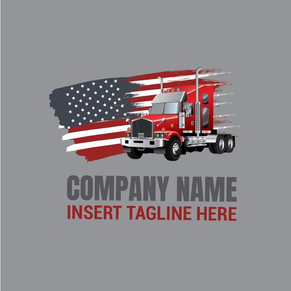 Truck with United States of America flag on a grey color background