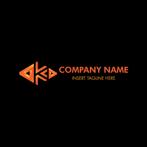 An abstract triangle forming letter 'K' on a black color background