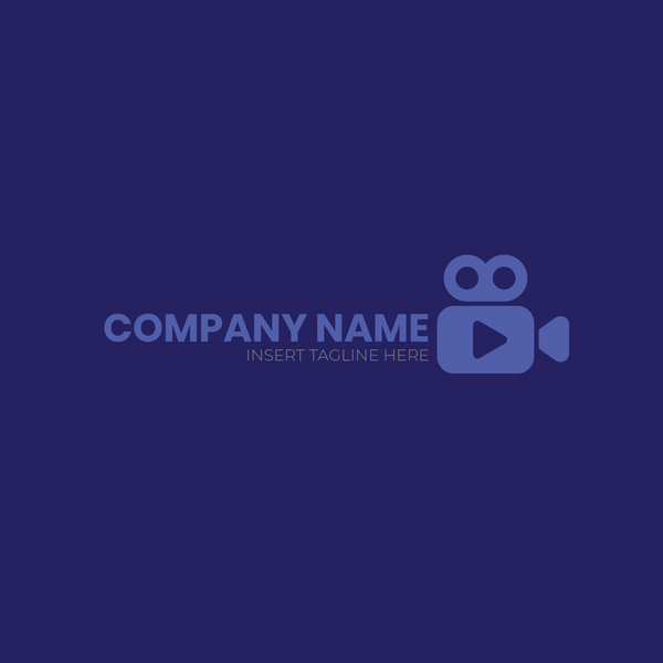 A video camera and play button shape on a blue color background