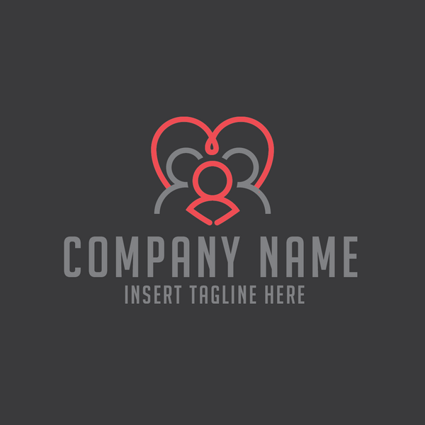Family symbols on a heart on a gray color background