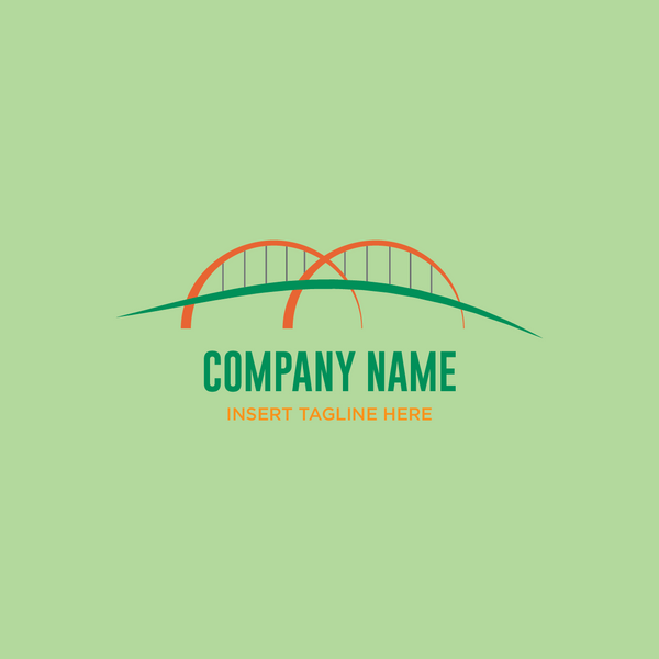 Arch bridge on a green color background