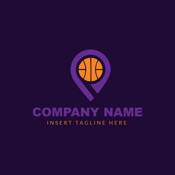 Basketball icon embedded in a location pin on a purple background