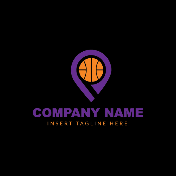 Basketball icon embedded in a location pin on a black background