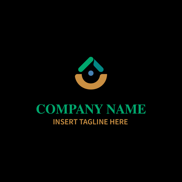 Drop shape logo with dot in middle on black background