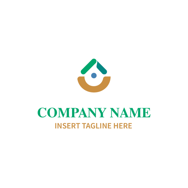 Drop shape logo with dot in middle on white background