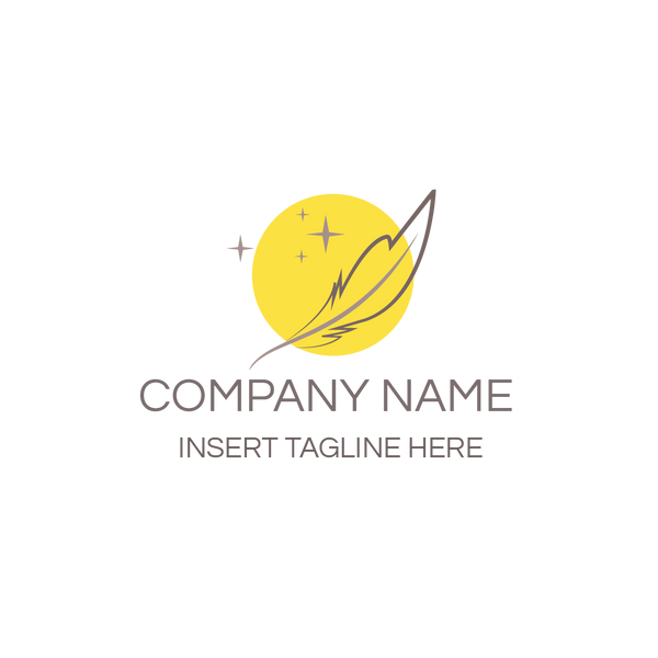 Yellow circle symbol and feather symbol on white background