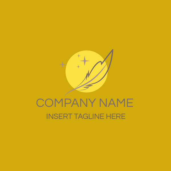 Yellow circle symbol and feather symbol on yellow background